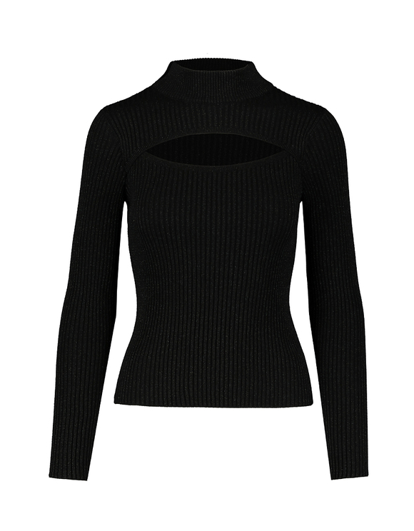 Top Nero in Maglia con Cut Out