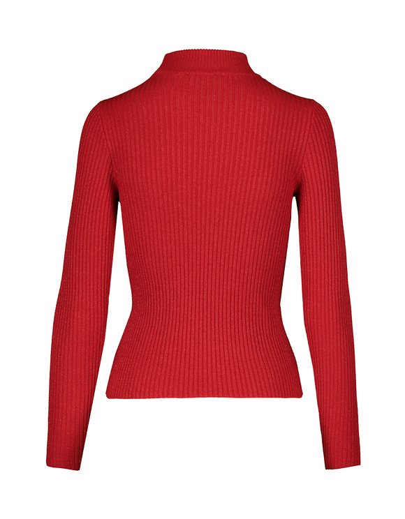 Red Knitted Top with Cut Out