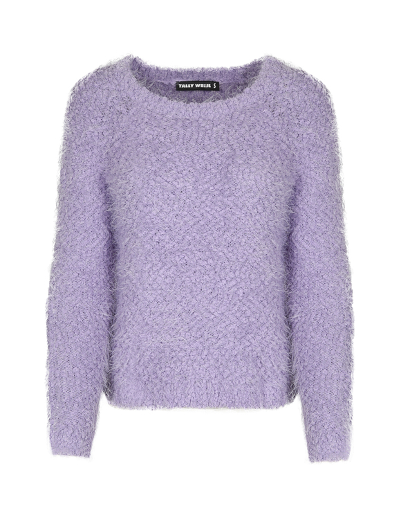 Lila flauschiger Pullover