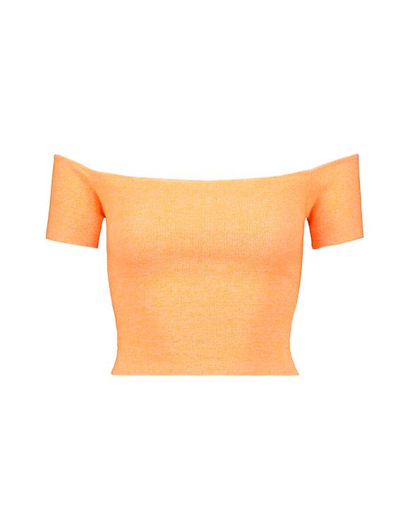 Crop Top en Maille Orange