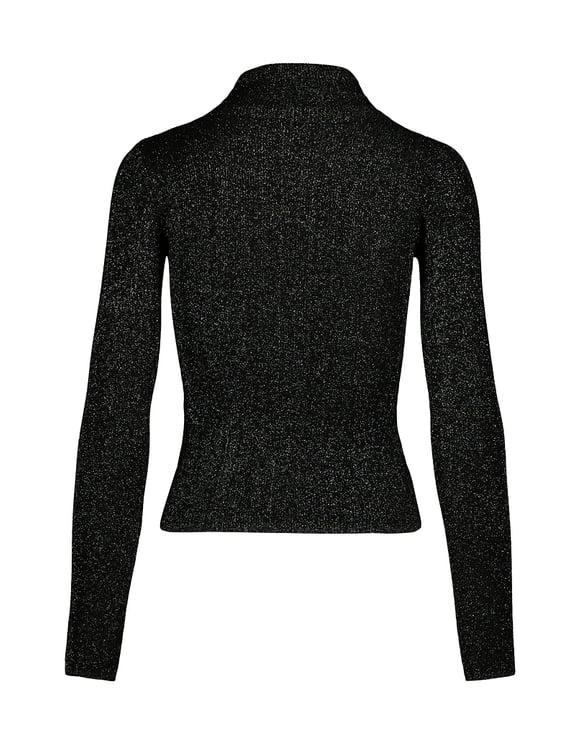 Schwarzer Pullover aus Lurex mit Stehkragen