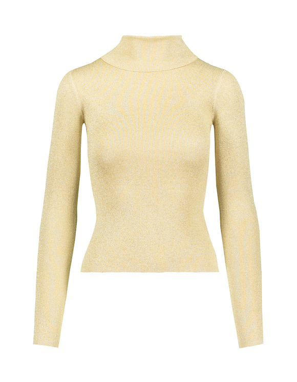 Pink Lurex Mock Neck Jumper
