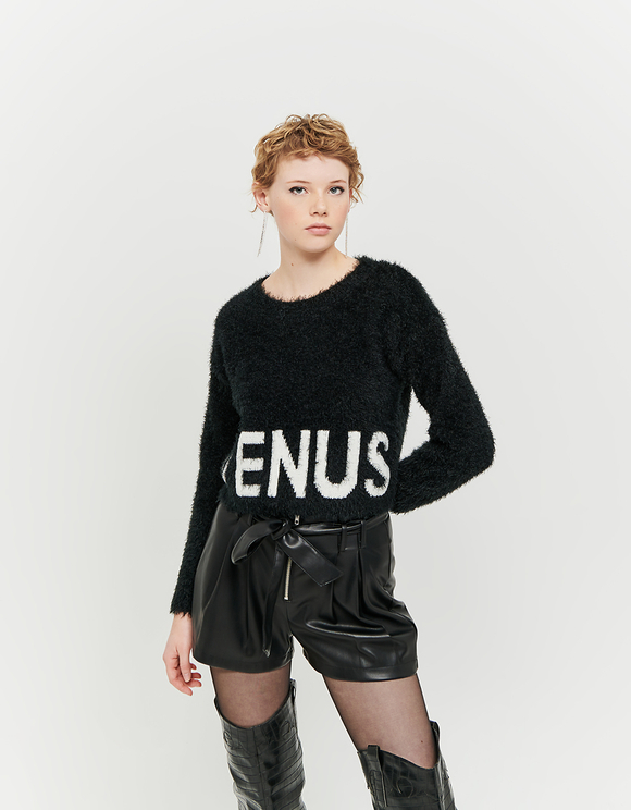 Black & White Jumper with Slogan