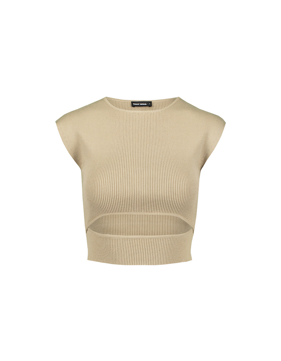 Beiger kurzer Pullover mit Cut Out