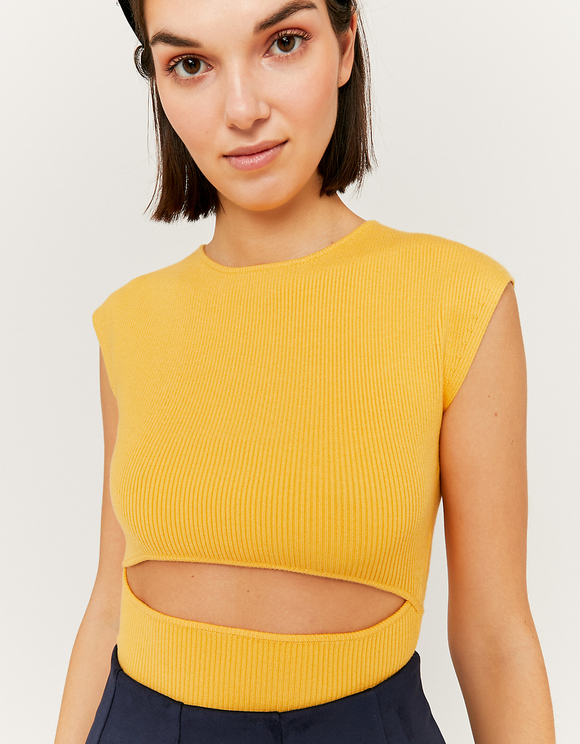 Yellow Cropped Jumper with Cut Out