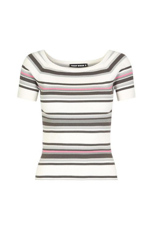 White Striped  Fine Knit Top