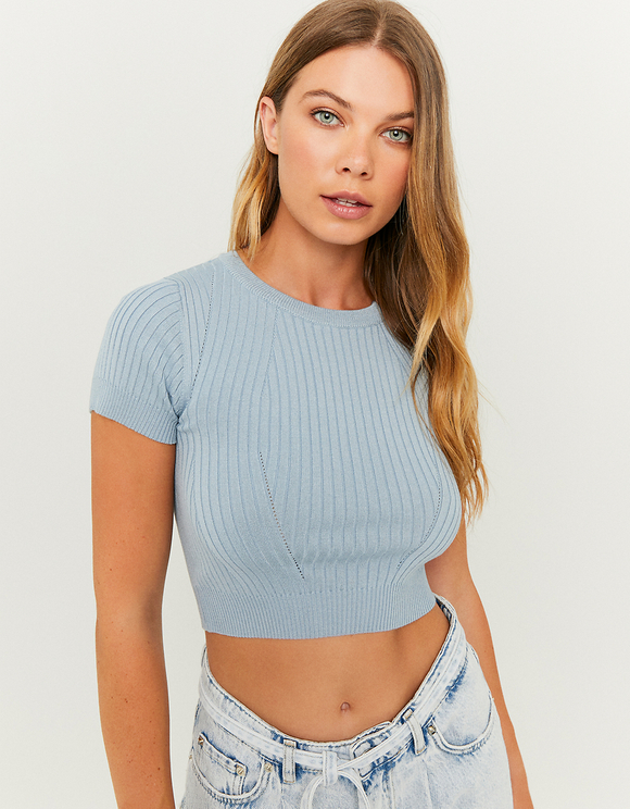 Blaues Crop Top
