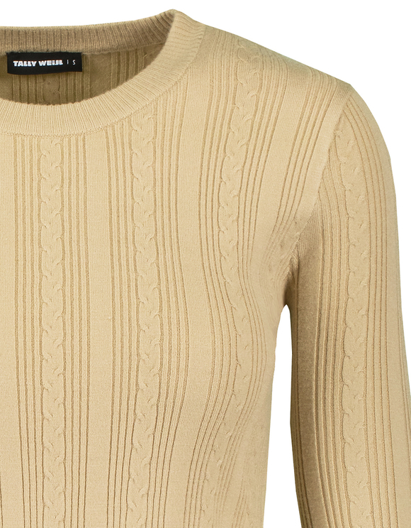 Beige Ribbed Knitted Jumper