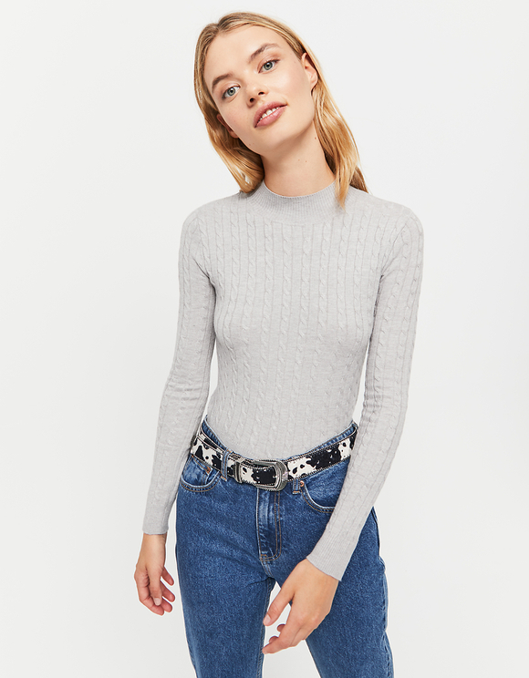 Grey Cable Knit Jumper