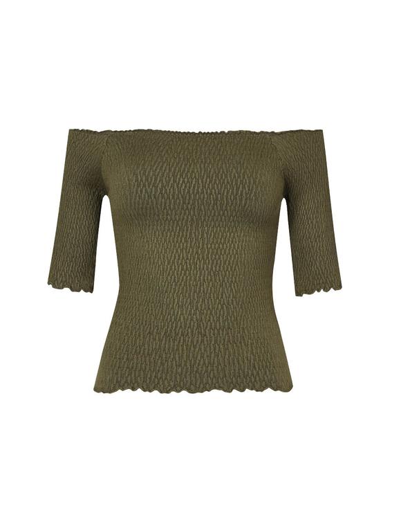 Green Shirred Top