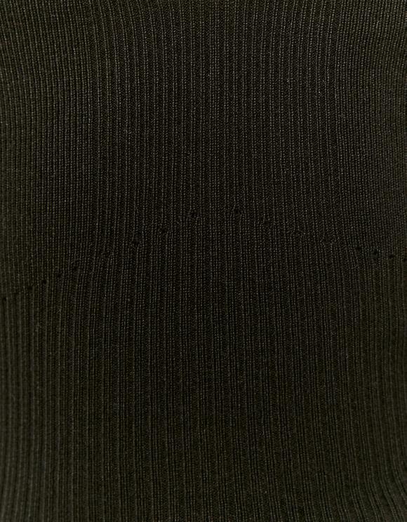 Schwarzes ärmelloses Top aus Strick mit Rüschen