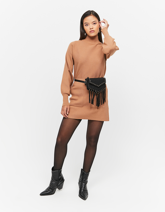 Beige Jumper with Batwing Sleeves