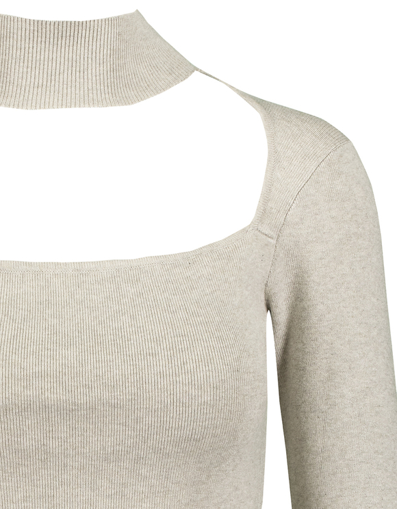 Grey Ribbed Jumper with Cut Out