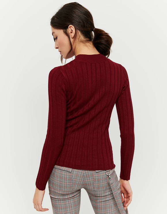 Red Ribbed Jumper