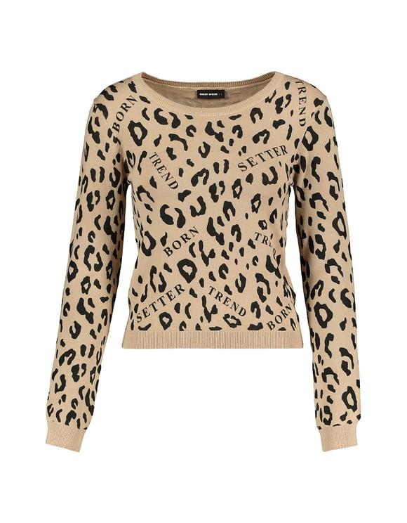 Strickpullover mit Leopardenmuster