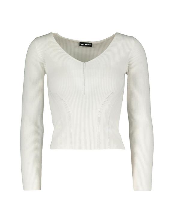 Biały dopasowany sweter