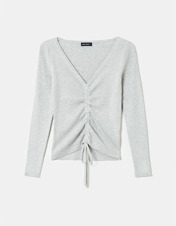 Grey Ruched Jumper