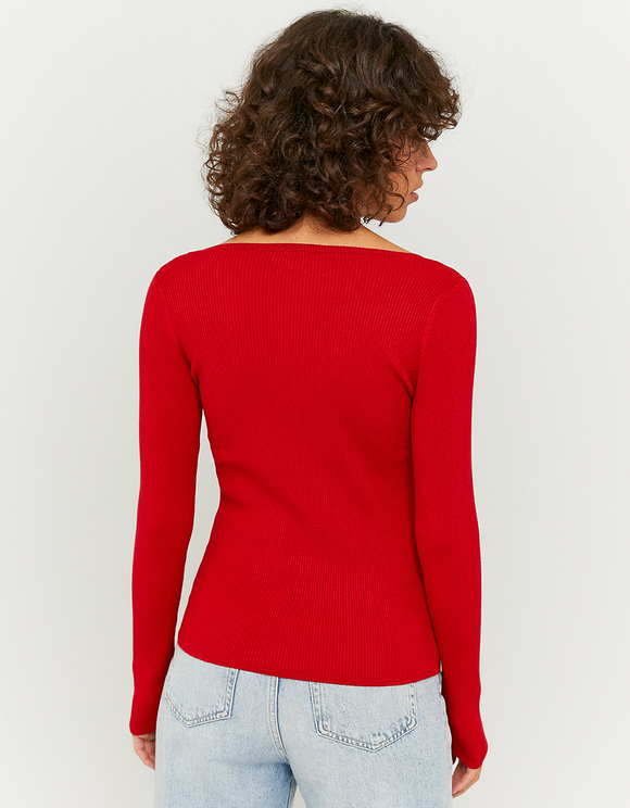 Red Ruched Jumper