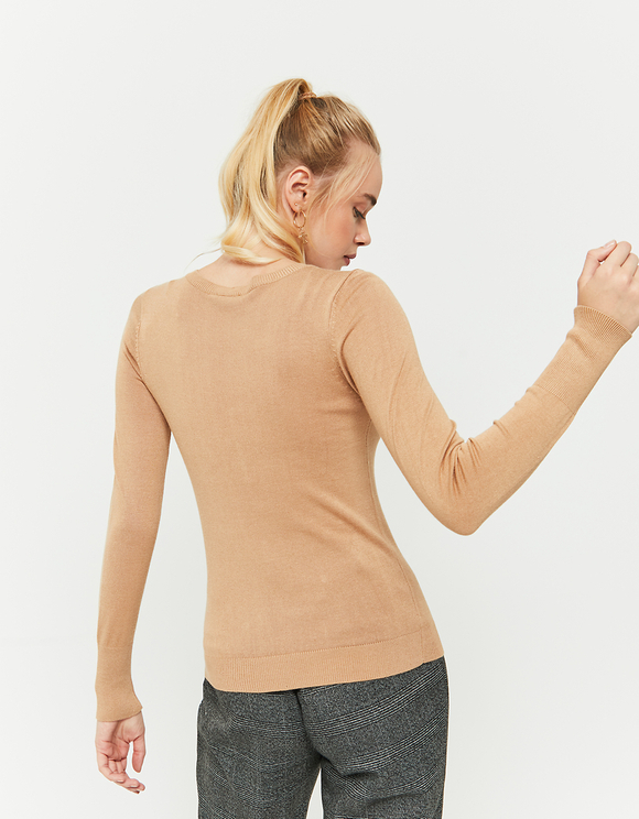 Beige Fitted Jumper