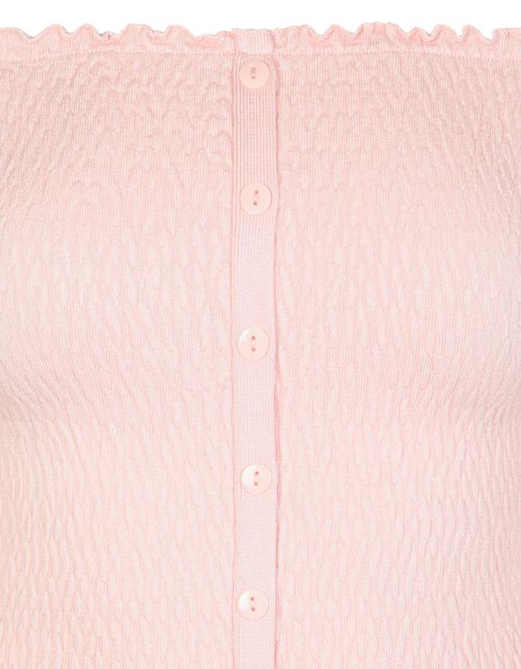 Pink Smocked Off Shoulder Top