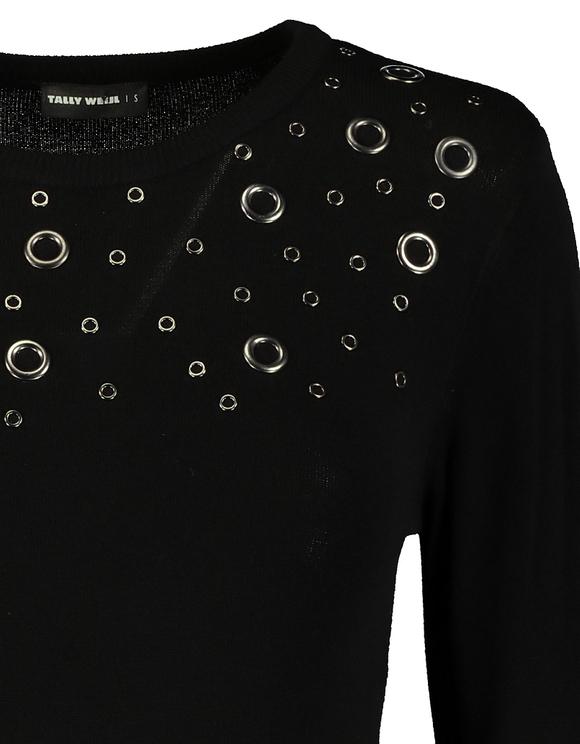 Black Jumper with Eyelet Details