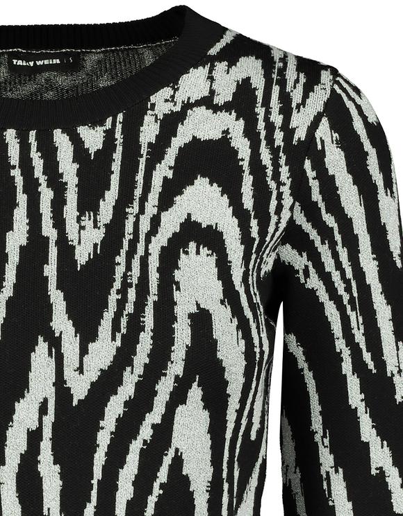 Black & Grey Jacquard Lurex Jumper