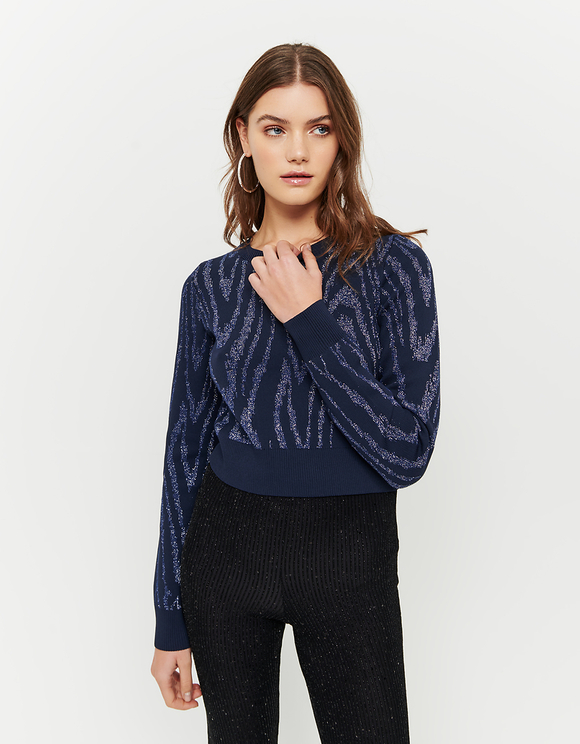 Silbern-blauer Pullover aus Jacquard und Lurex