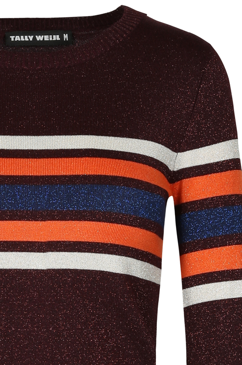 Bordeaux Stripe Jumper with Lurex