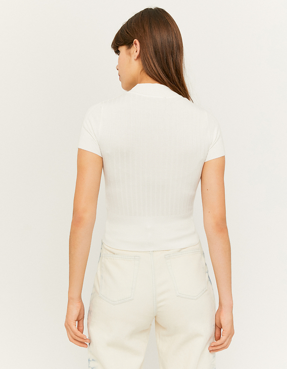 White Knit T-Shirt with Mock Neck