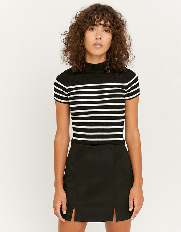 Striped Knit T-Shirt with Mock Neck