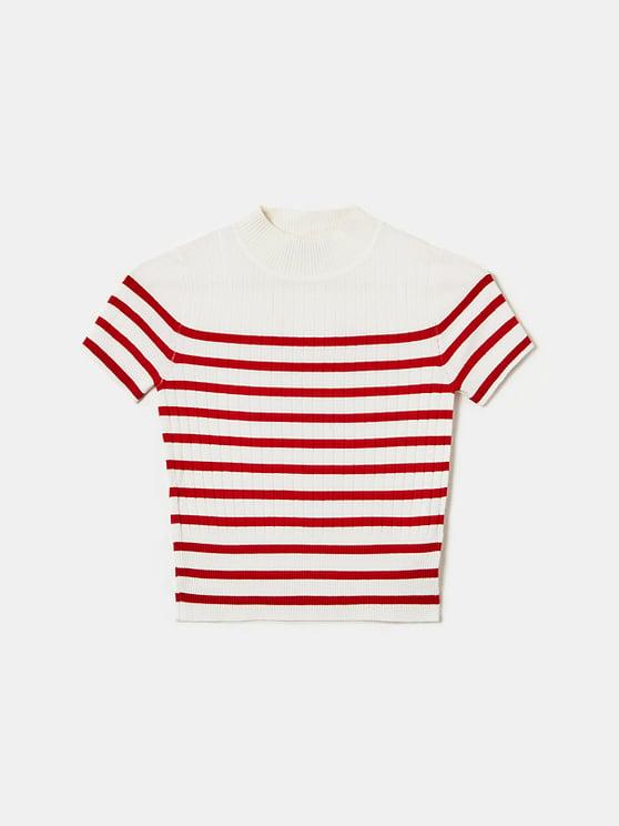 T-Shirt en Maille Rayé Col Montant
