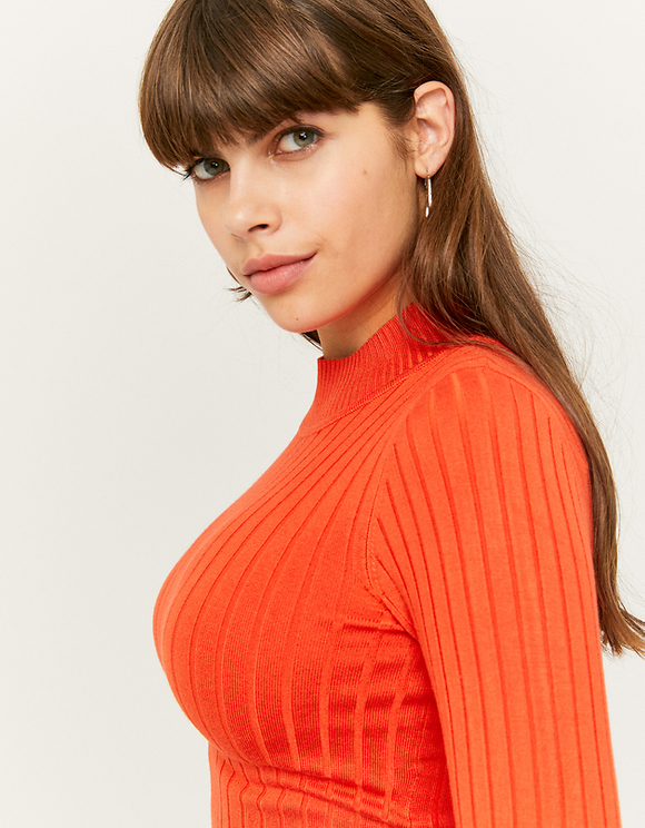 Orange Ribbed Cropped Jumper