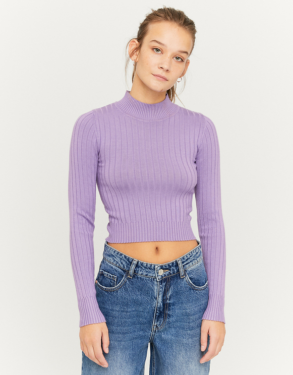 Violetter kurzer gerippter Pullover