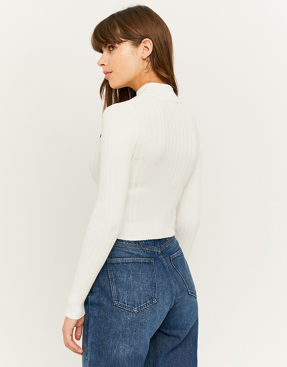 White Ribbed Cropped Jumper