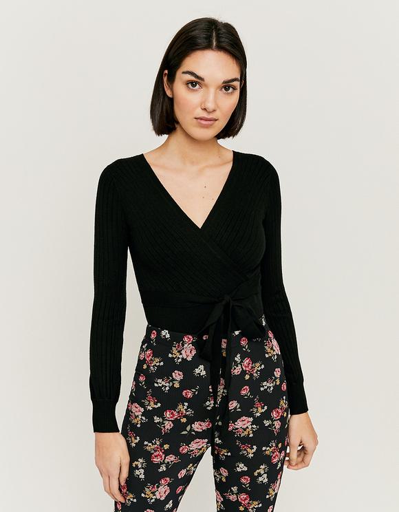 Schwarzer Pullover mit Cache-Cœur-Ausschnit