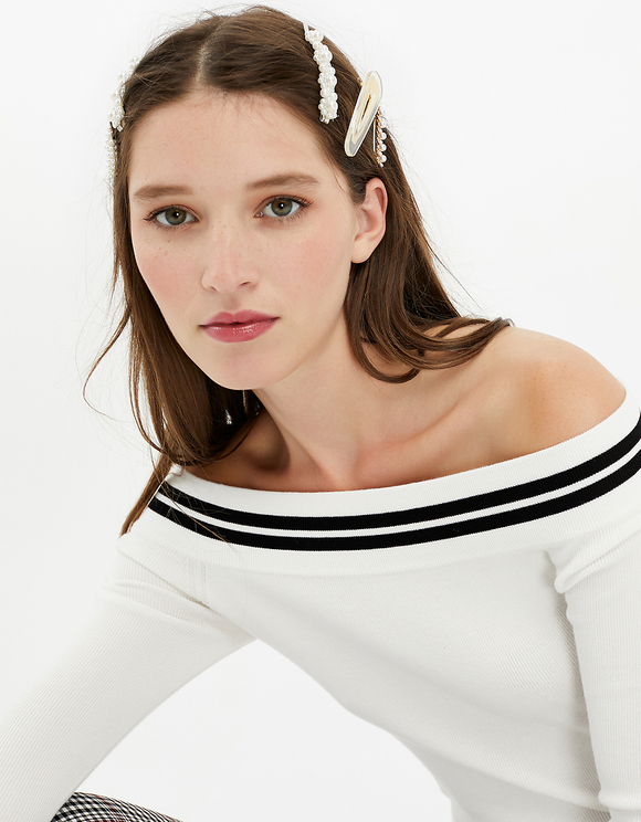 White Off Shoulder Jumper