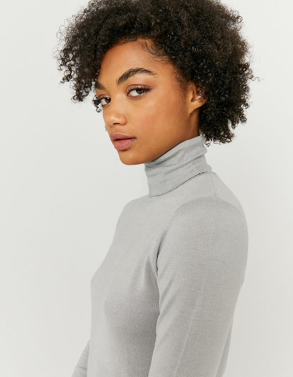 Pull Gris Col Montant