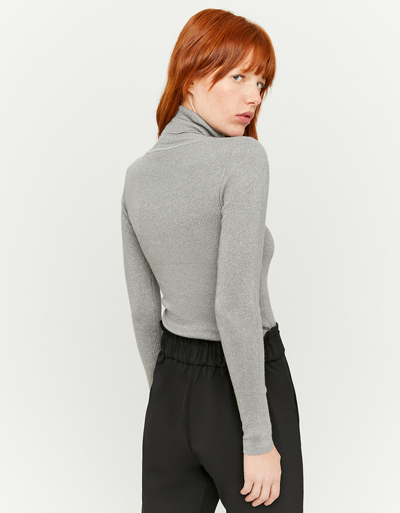Silver Lurex Turtleneck Jumper