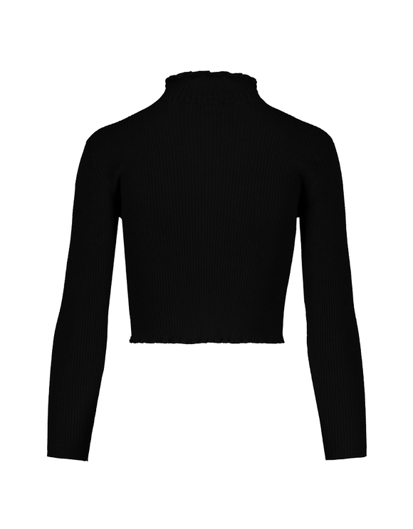 Black Cropped Jumper with Lettuce Hem
