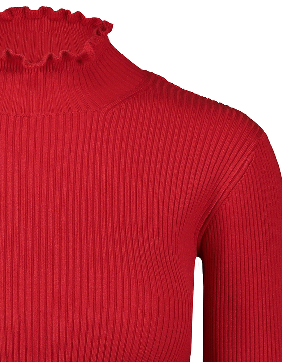Red Cropped Jumper with Lettuce Hem