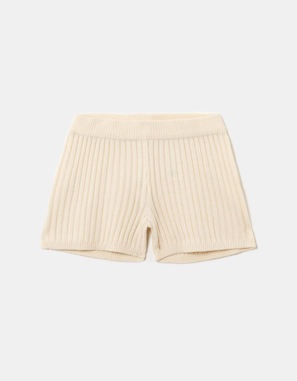 Beige Knitted Shorts