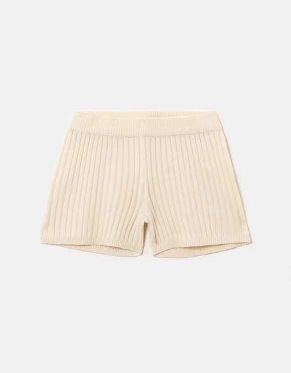 Beige Strick Shorts