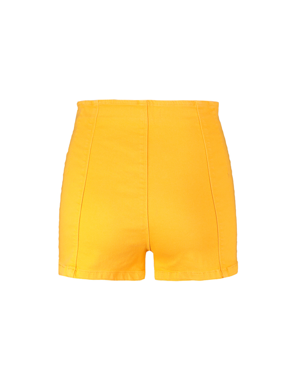 Yellow Button-front Shorts