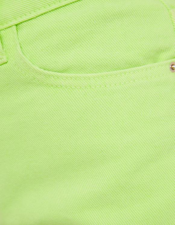 Neon Green Ripped Denim Shorts