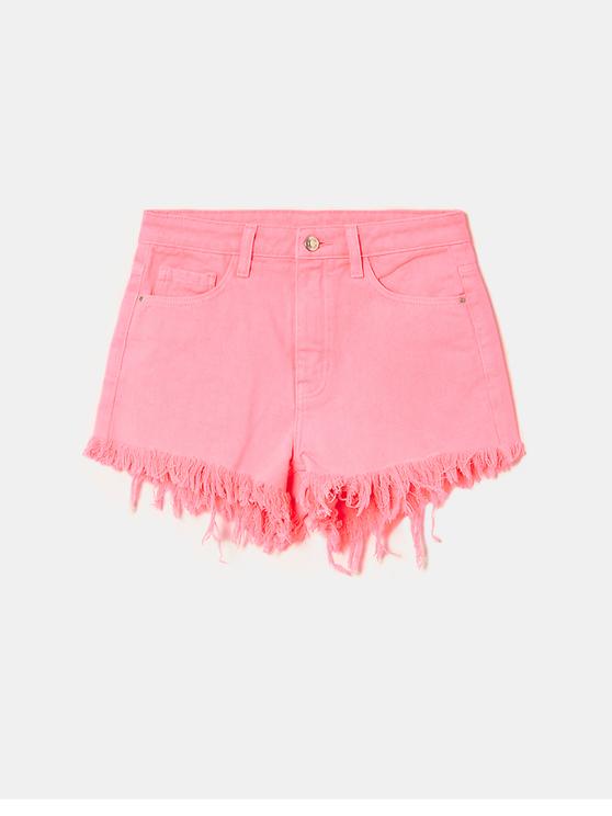 Neon Pink Ripped Denim Shorts