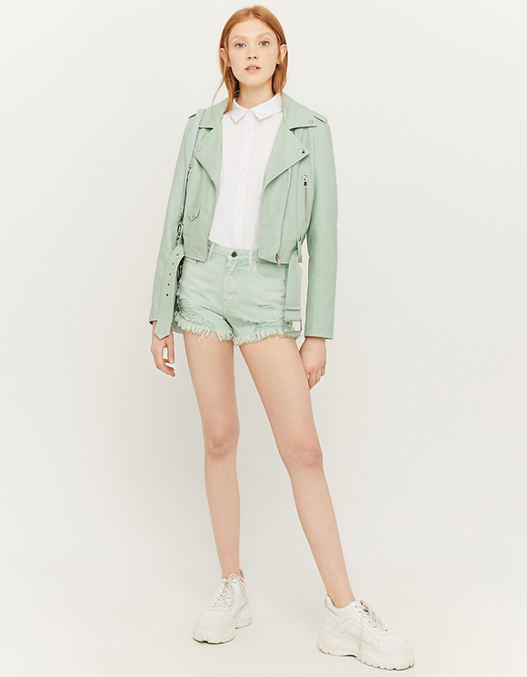 Mint Ripped Denim Shorts