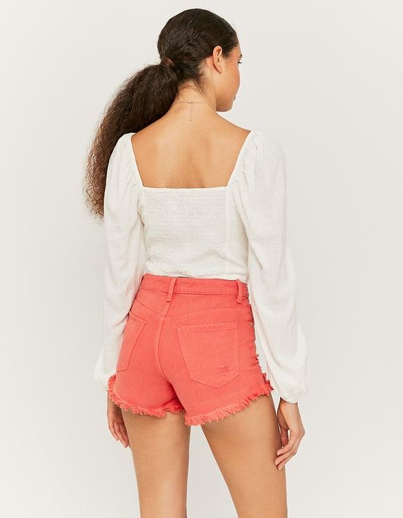 Rote gerippte Denim Shorts