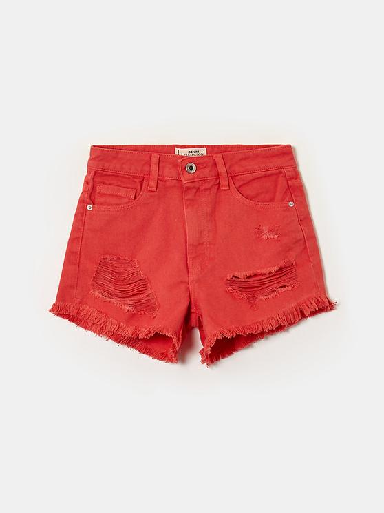 Red High Waist Ripped Denim Shorts
