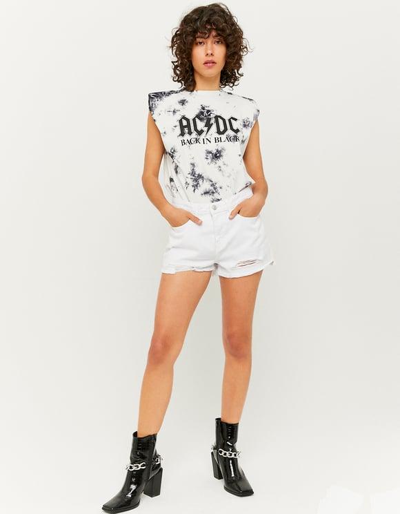 High Waist White Ripped Denim Shorts