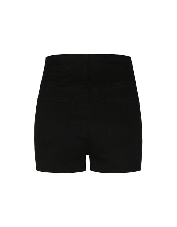 Black Buttonned Shorts